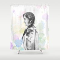 pride and prejudice Shower Curtains featuring Pride and Prejudice by Wadart