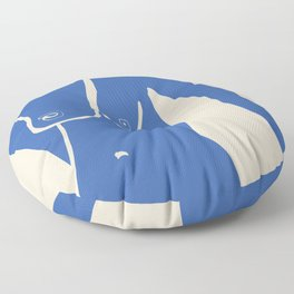 Nude cut out in blue Floor Pillow
