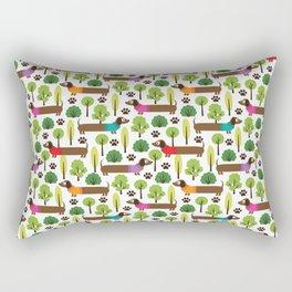 Dachshunds On A Walk In The Park Rectangular Pillow