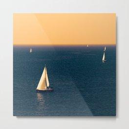 Sunset sea and sail boat Metal Print