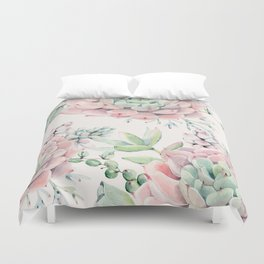 Pink Succulents on Cream Duvet Cover