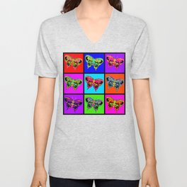 Psychedelic Butterflies Mosaic Unisex V-Neck