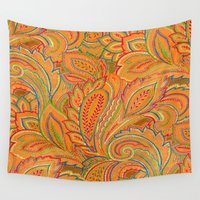 paisley Wall Tapestries featuring peach paisley by Ariadne