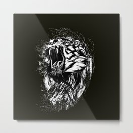 Angry Tiger Black and white Metal Print
