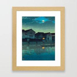 Kawase Hasui Vintage Japanese Woodblock Print Japanese Village Under Moonlight Cloudy Sky Framed Art Print