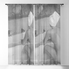 Bath in Paris, Cold Water Flat, Female Nude black and white art photography / photograph Sheer Curtain