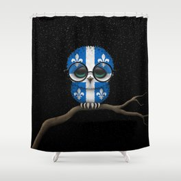 Baby Owl with Glasses and Quebec Flag Shower Curtain
