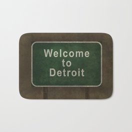 Welcome to Detroit highway road side sign Bath Mat
