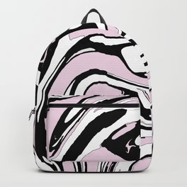 Black, White and Pink Graphic Paint Swirl Pattern Effect Backpack