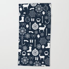 Navy blue and white Christmas elements pattern Beach Towel