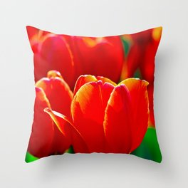 Red Tulips Festival Throw Pillow