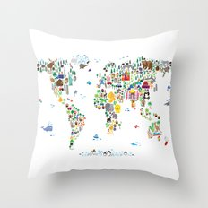 Animal Map of the World for children and kids Throw Pillow