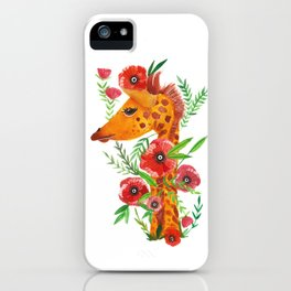 Giraffe with poppies illustration iPhone Case