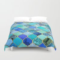 blues Duvet Covers featuring Cobalt Blue, Aqua & Gold Decorative Moroccan Tile Pattern by micklyn