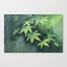 Japanese Maple Watercolor Green Leaves Tree Branch Nature Canvas Print