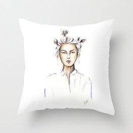 Asian girl Throw Pillow