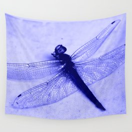 Dragonfly Frozen in Blue Wall Tapestry