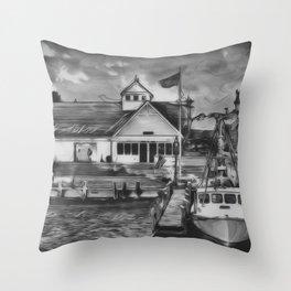 Coastguard Hyannis BW Throw Pillow
