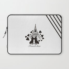French (bulldogs) kiss in Paris Laptop Sleeve
