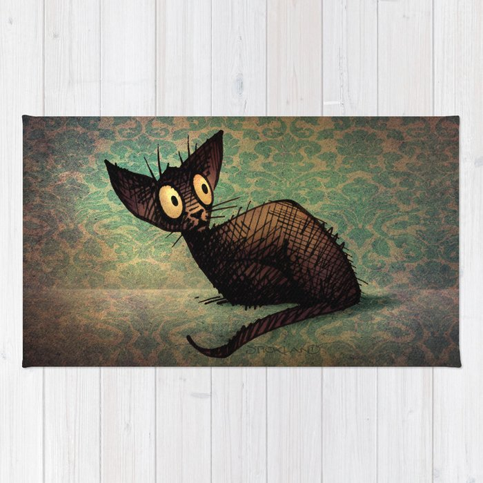 Black Oriental Cat Rug By Paulstickland