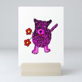 Cute Pink Scribbly Dog Mini Art Print