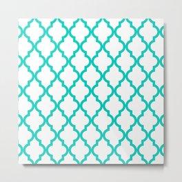 Aqua Moroccan Quatrefoil Pattern Metal Print