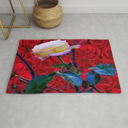 YELLOW ROSE  ON RED ROSES GARDEN ABSTRACT Rug