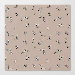Neutral Memphis Squiggle Pattern Canvas Print