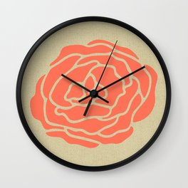 Rose Deep Coral on Linen Wall Clock