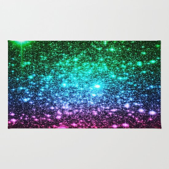 Glitter Cool Tone Ombre (green Blue Purple Pink) Rug By