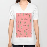 cacti V-neck T-shirts featuring Cacti by Calepotts