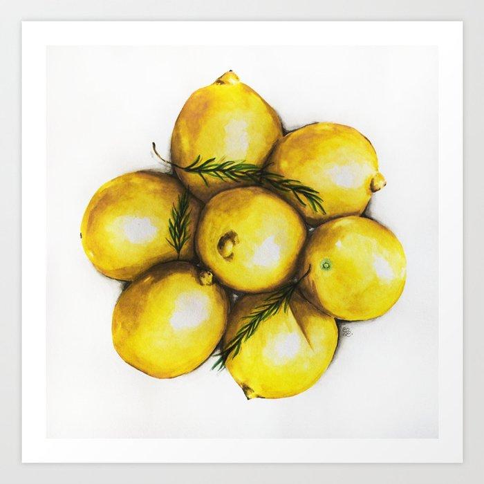 Realistic Watercolor Lemons Illustration Health Art Print