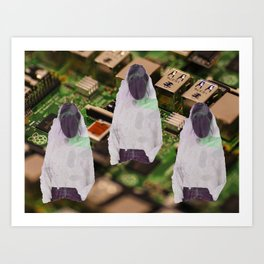 Three Women With Blacked Out Faces Art Print