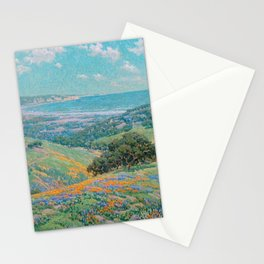 Malibu Coast, California with wild poppies floral seascape painting by Granville Redmond Stationery Cards