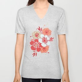 Coral flower pattern Unisex V-Neck