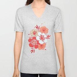 Coral flower pattern Unisex V-Neck