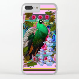 PINK ON  PINK ROSES & GREEN PEACOCK GARDEN FLORAL Clear iPhone Case