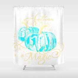 """Autumn Magic"" Turquoise Pumpkins Shower Curtain"