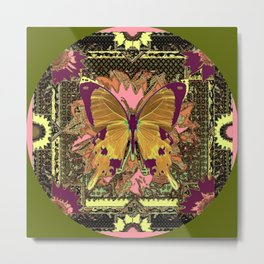 Ornate Mauve Swallow Tailed Butterfly Yellow-Khaki Design Metal Print