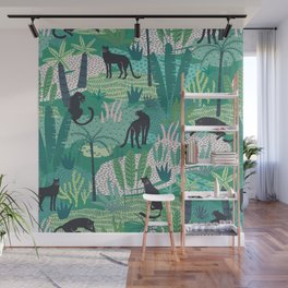 Panthers In Jungle Pattern Wall Mural