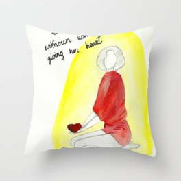 Unknown woman giving her heart Throw Pillow