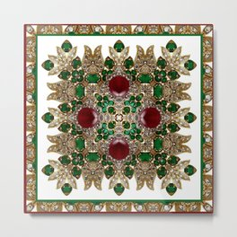 Kaleidoscope No. 30 Emeralds, Rubies and Diamonds Metal Print
