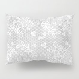 Beautiful Gray & White Floral Lace Pattern Pillow Sham