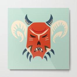Kuker Evil Monster Mask Metal Print