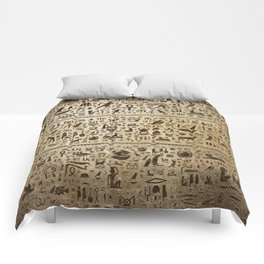 Ancient Egyptian hieroglyphs - Vintage and gold Comforters