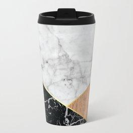 White Marble Black Granite & Wood #711 Travel Mug