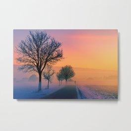 Winter Road Trip Sunset Landscape Metal Print