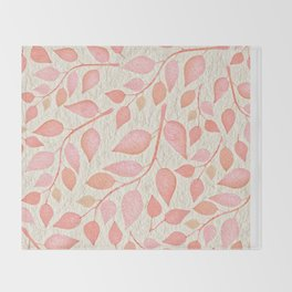 Coral Pink Leaves On Gold Throw Blanket