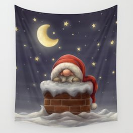 Little Santa in a chimney Wall Tapestry