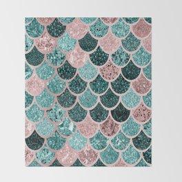 Mermaid Fish Scales, Pink, Rose Gold, Teal, Emerald Green Throw Blanket